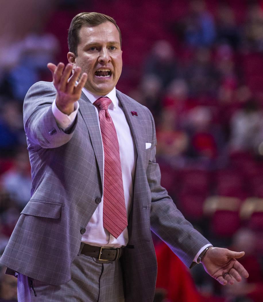 UNLV Rebels head coach T.J.Otzelberger calls in another offense versus the Abilene Christian Wi ...