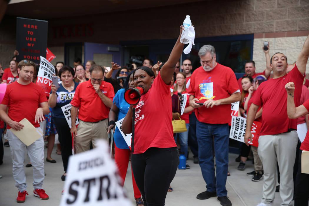 Linda Jones of Clark County Education Association, center, rallies the crowd after a Clark Coun ...