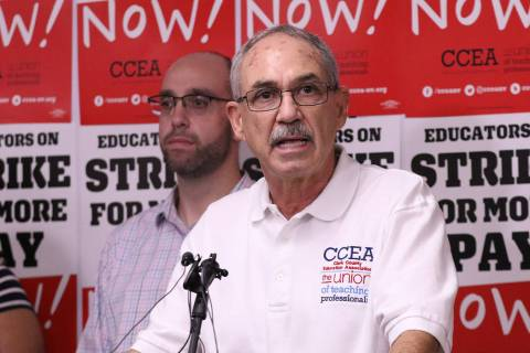 Clark County Education Association executive director John Vellardita speaks at the CCEA buildi ...