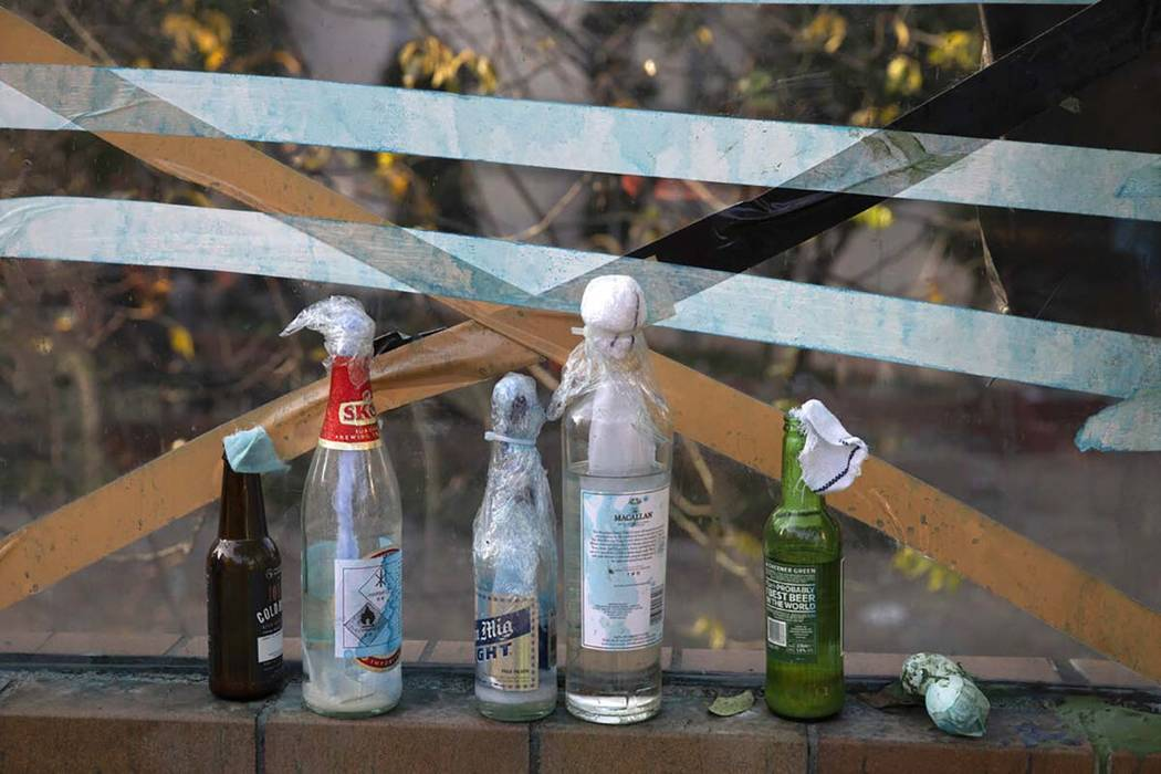 Molotov cocktails are left over at the Hong Kong Polytechnic University campus in Hong Kong on ...