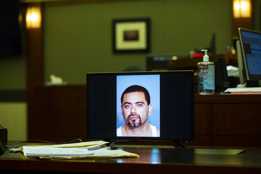 A photo of Manuel Mata III is displayed during the penalty phase of his trial at Regional Justi ...