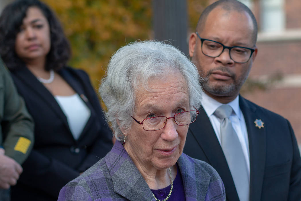 Cecily O'Connor, center, speaks during a press conference following the arraignment hearing for ...