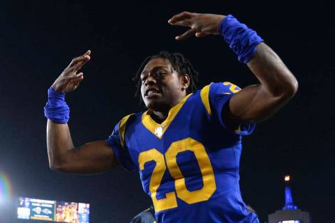 Los Angeles Rams cornerback Jalen Ramsey celebrates the team's win over the Chicago Bears in an ...