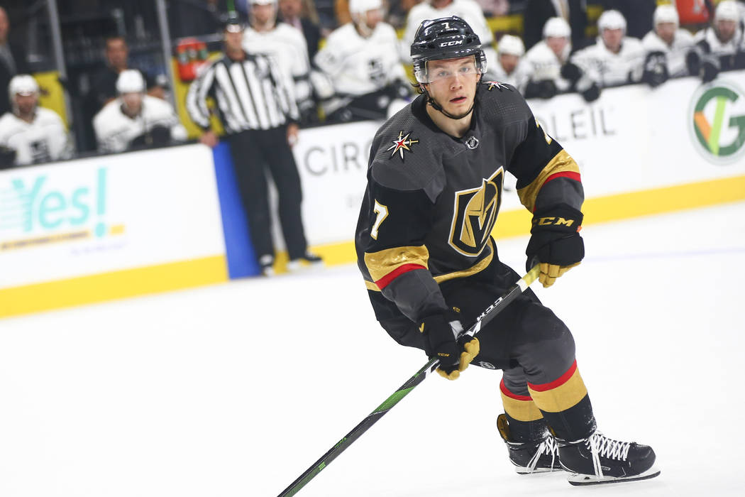 Golden Knights' Valentin Zykov (7) looks on during the first period of an NHL hockey game again ...