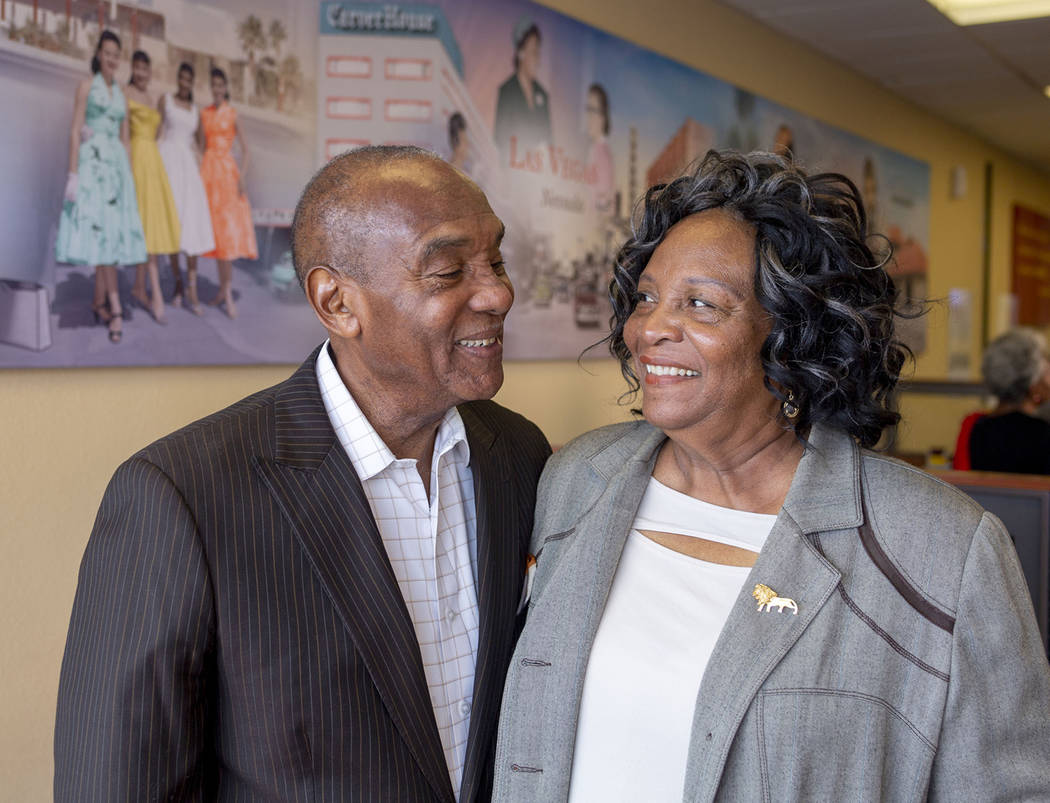 Roosevelt Toston, 77, the first African American anchor in Las Vegas, left, and Gertrude Toston ...