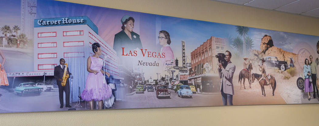 A mural of influential African Americans of Las Vegas is displayed at the Wells Fargo West Owen ...