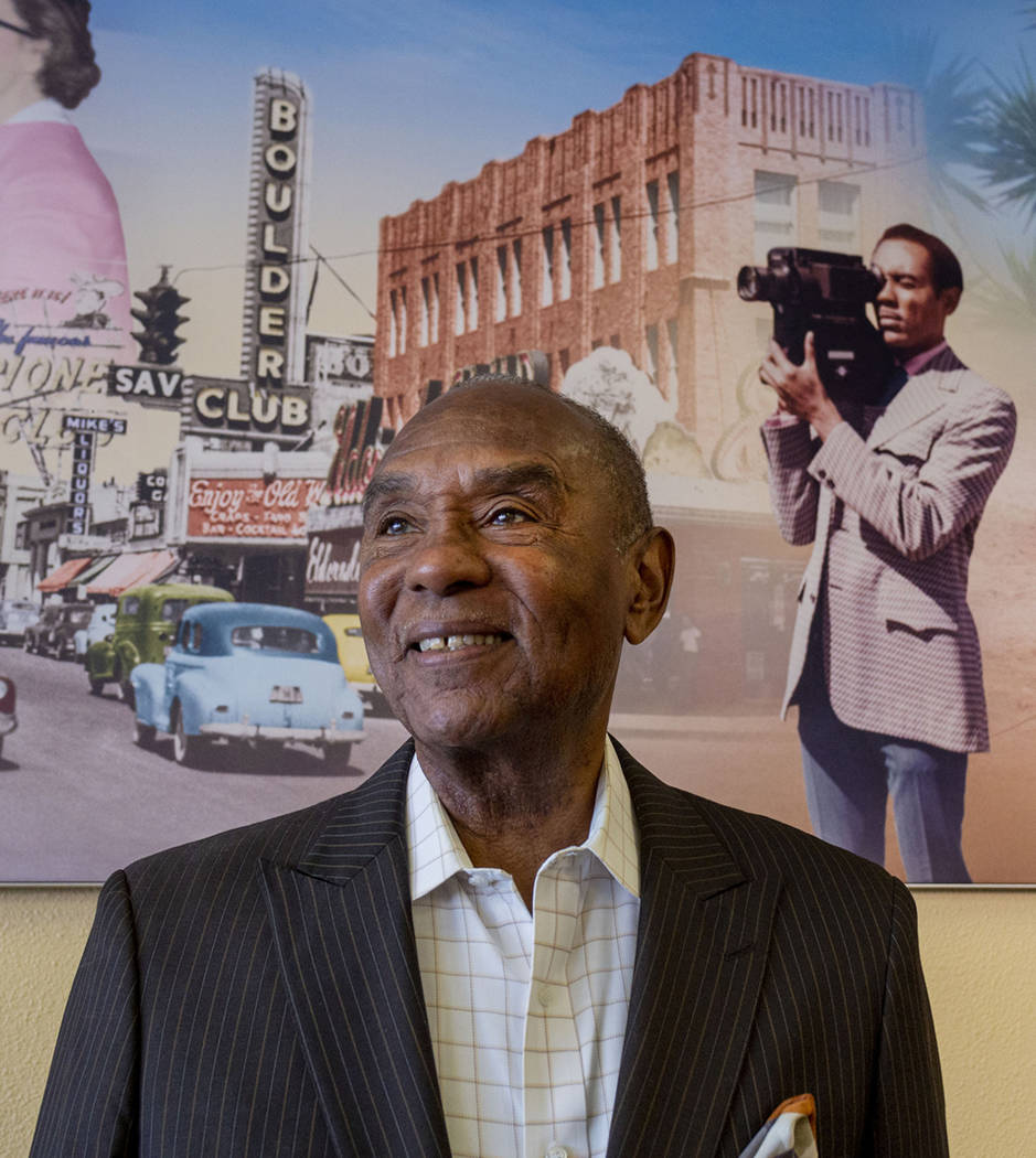 Roosevelt Toston, 77, the first African American anchor in Las Vegas, is honored at the Wells F ...