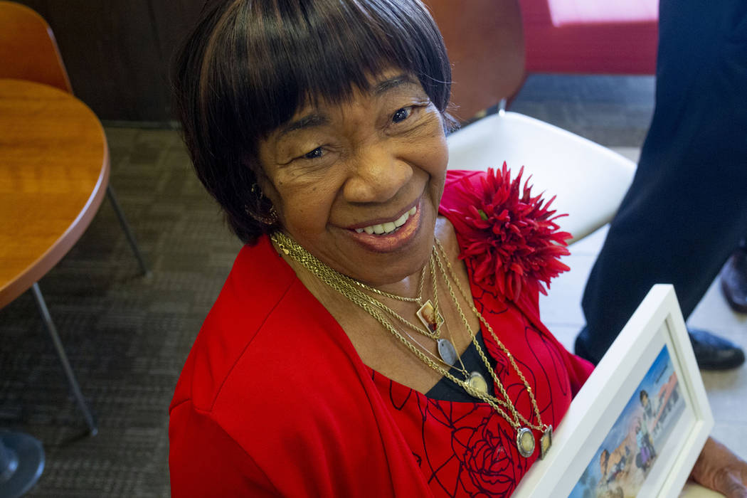 Naomi Goynes, 85, North Las Vegas, wife of Theron Goynes who is honored at the Wells Fargo West ...