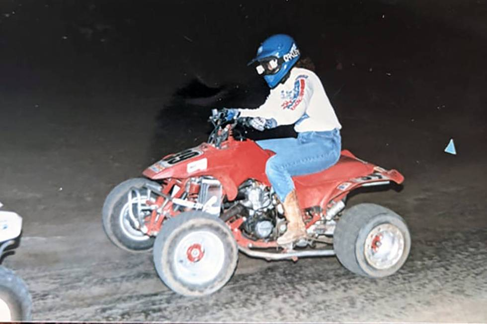 Kim Gervais drives her quad in 1985. She often spent weekends racing quads in the California de ...