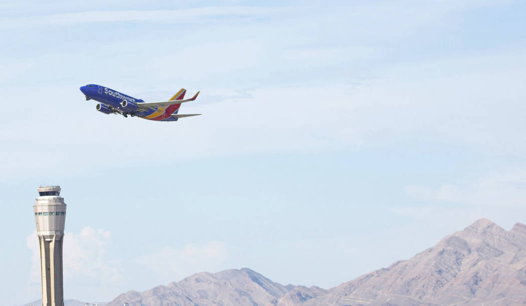 A Southwest Airlines plane takes off from McCarran International Airport on Thursday, July 25, ...