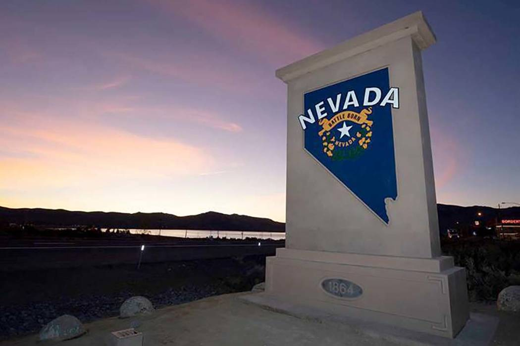 """A """"Welcome to Nevada"""" monument sign similar to the one shown along U.S. Highway 395 a ..."""