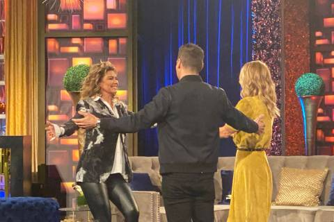 "Shania Twain is greeted by Ryan Seacrest and Kelly Ripa on a taping of ""Live With Kelly And Rya ..."