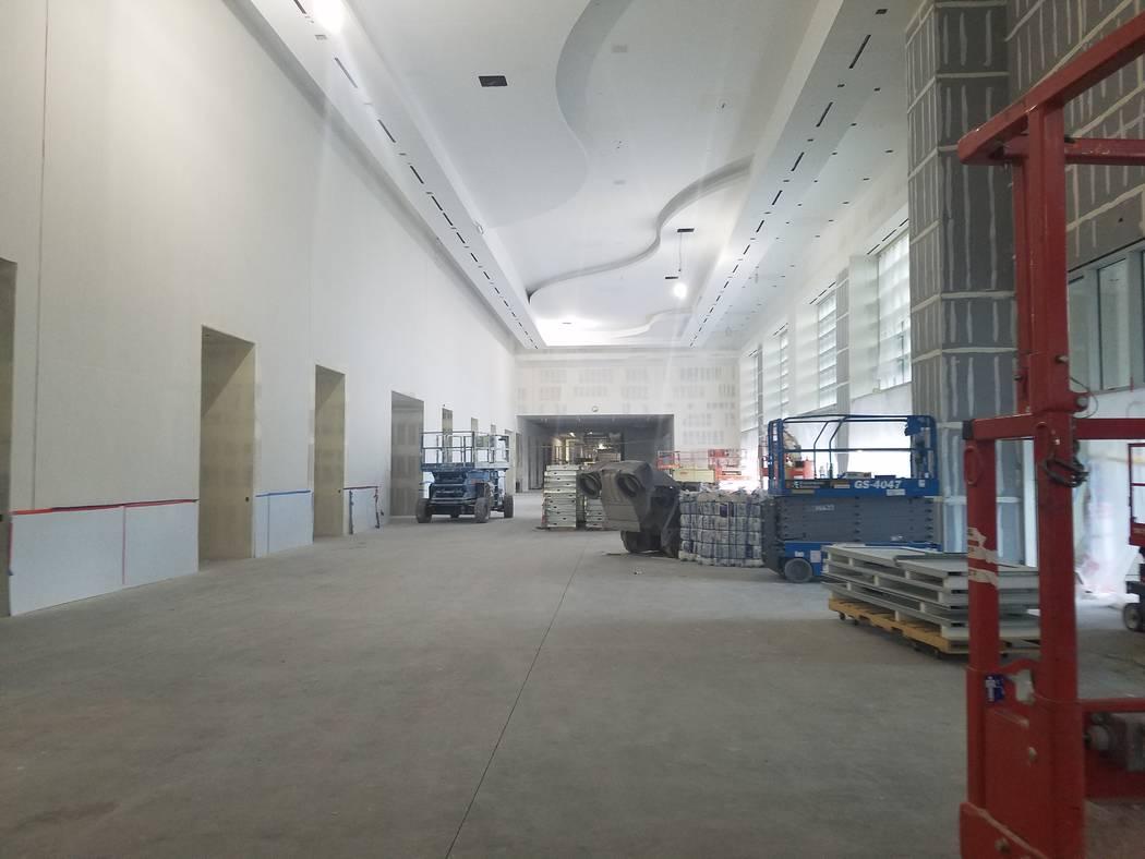 The interior pedestrian corridor under construction at Caesars Forum, Monday, Nov. 18, 2019. (R ...