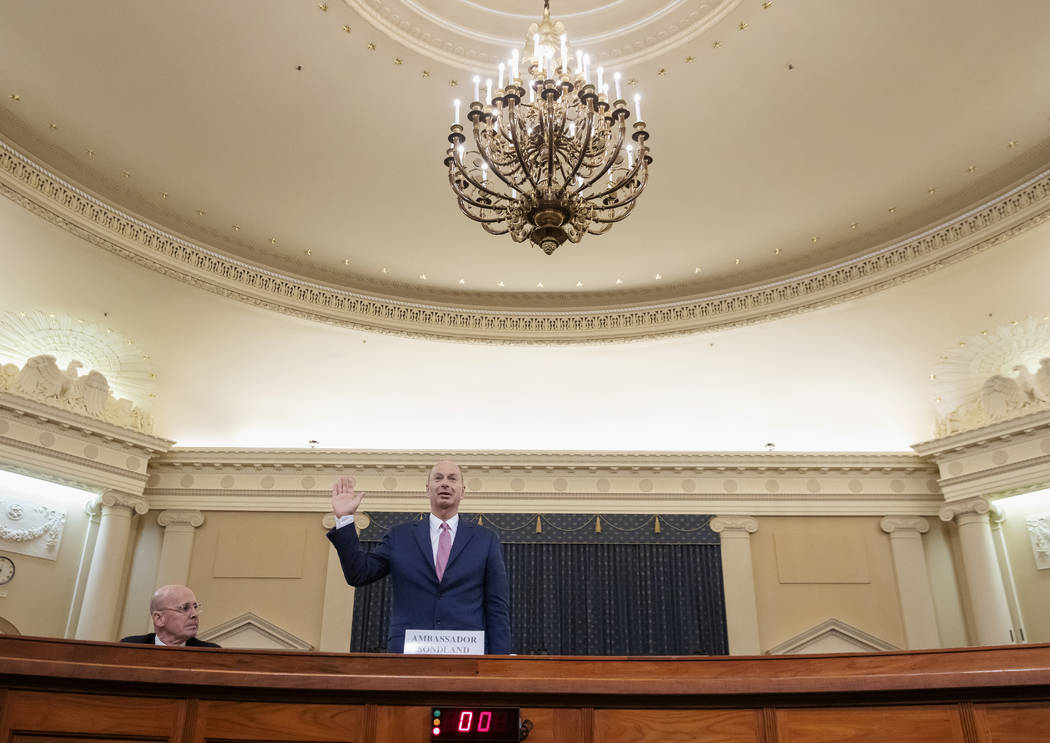 U.S. Ambassador to the European Union Gordon Sondland is sworn in to testify before the House I ...