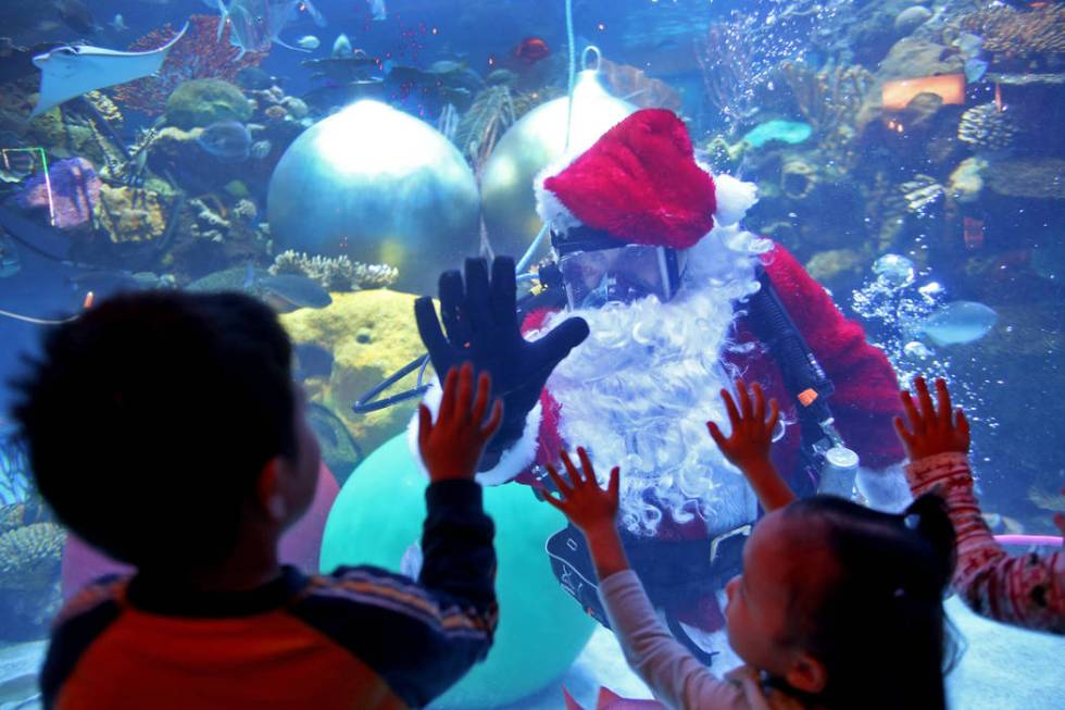 Underwater Santa high-fives William Chaidez, 3, at Silverton hotel and casino in Las Vegas, Sun ...