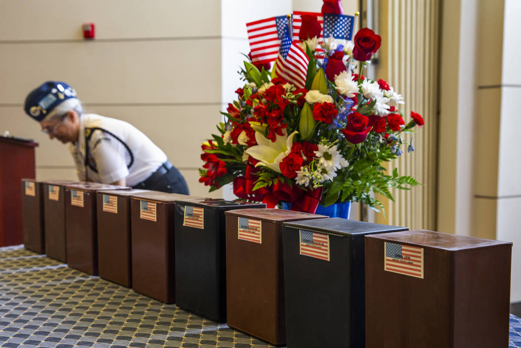 Urns with soldier's remains are ready to be honored during the third Missing in Nevada ceremony ...