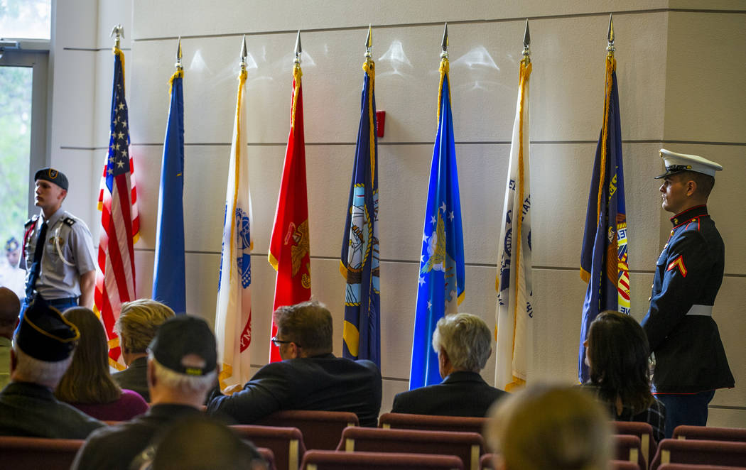 An American flag and those of each military service branch are displayed during the third Missi ...