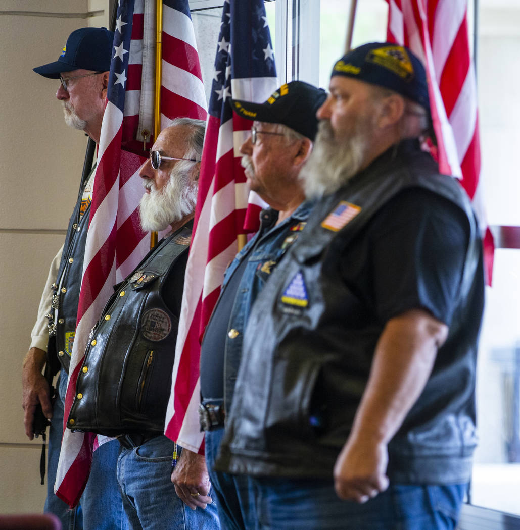 Nevada Patriot Guard Riders are the American flag holders during the third Missing in Nevada ce ...