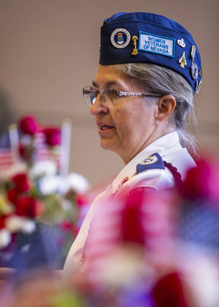 Retired Air Force Senior Master Sgt. Bobi Oates welcomes all to the third Missing in Nevada cer ...