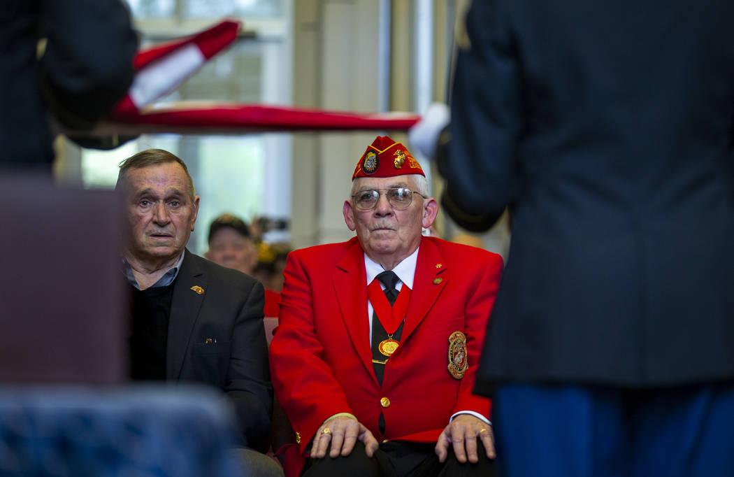 "Retired Marine Lt. Gen. Emil ""Buck"" Bedard, left, and Commandant Dan O'Connell with ..."