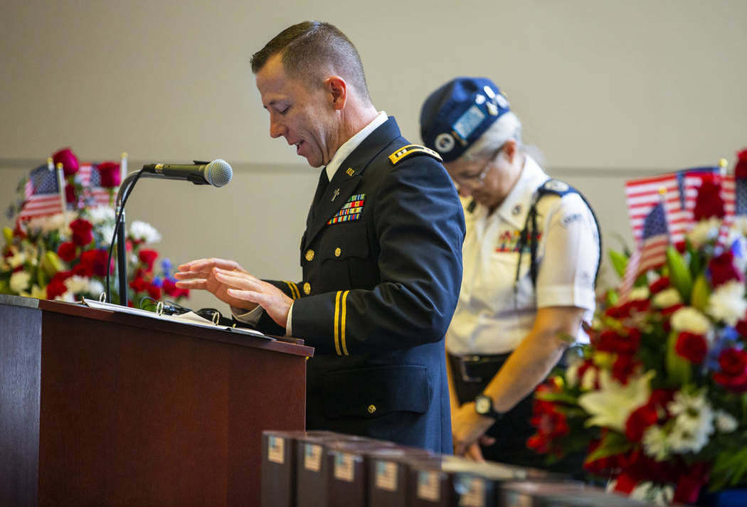 Army Chaplain Capt. Troy Dandrea gives an invocation during the third Missing in Nevada ceremon ...