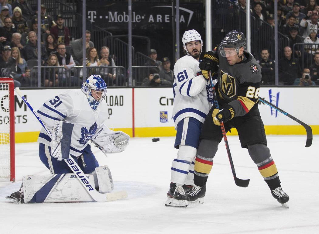 Vegas Golden Knights center Paul Stastny (26) shoots on Toronto Maple Leafs goaltender Frederik ...