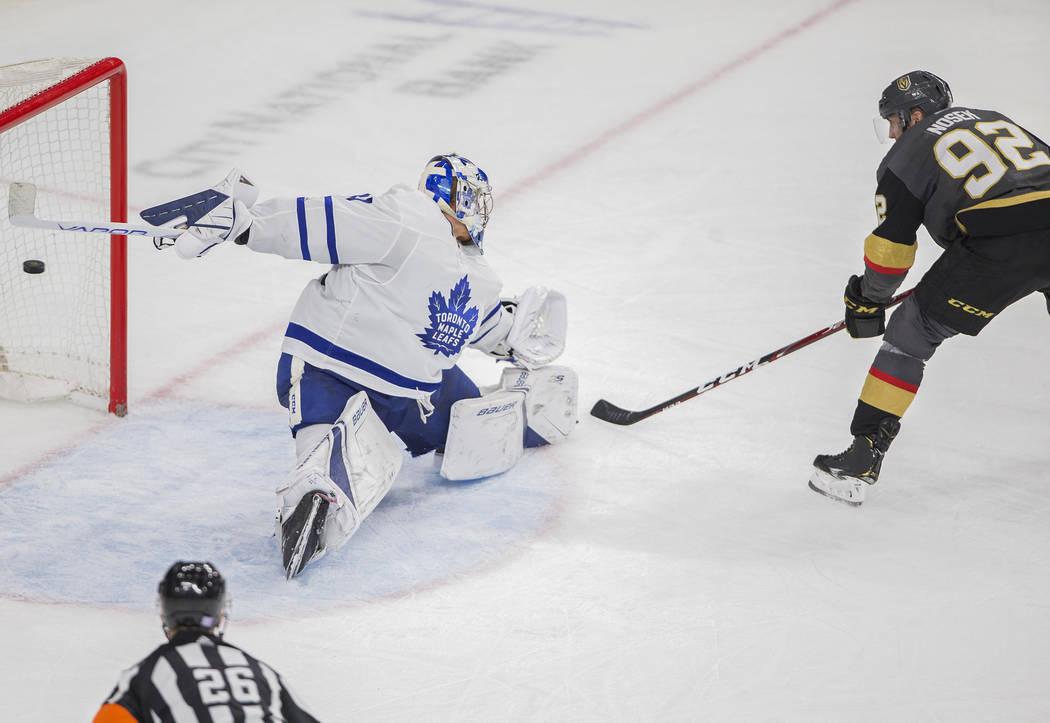 Vegas Golden Knights left wing Tomas Nosek (92) scores against Toronto Maple Leafs goaltender F ...