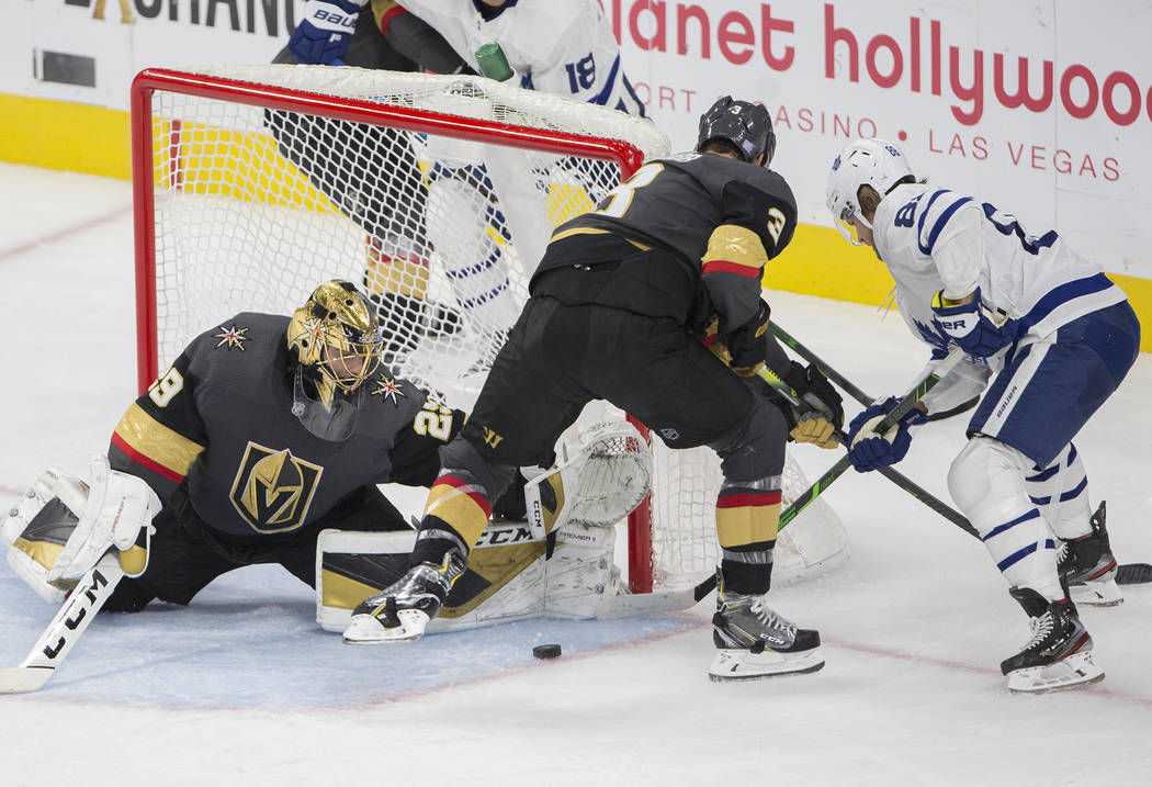 Vegas Golden Knights goaltender Marc-Andre Fleury (29) makes a save against Toronto Maple Leafs ...