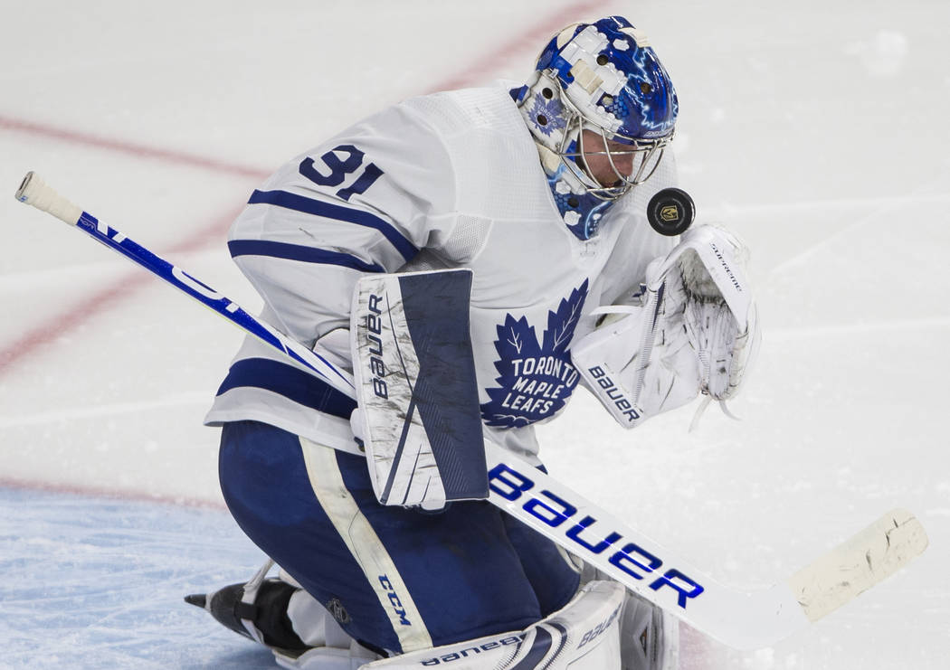 Toronto Maple Leafs goaltender Frederik Andersen (31) makes a save in the third period during t ...