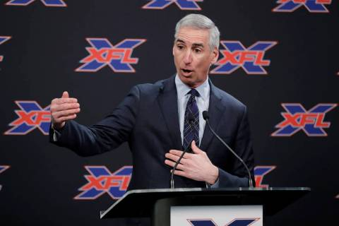 XFL commissioner Oliver Luck is shown on Monday, Feb. 25, 2019. (AP Photo/Ted S. Warren)