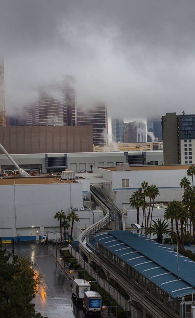 Clouds cover the Strip in Las Vegas on Wednesday Nov. 20, 2019. (Elizabeth Page Brumley/Las Veg ...