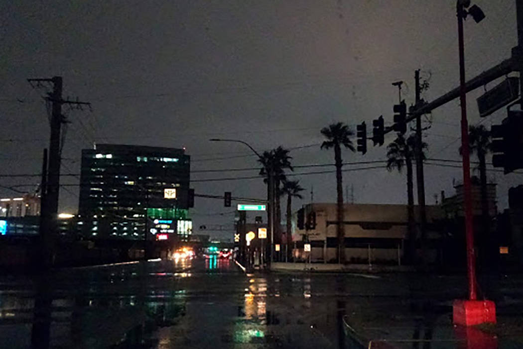 Traffic signals were out at West Bonanza Road and City Parkway about 3 a.m. Wednesday, Nov. 20, ...