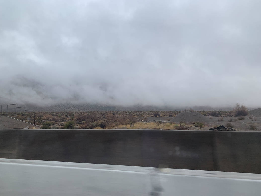 Clouds along state Route 160 from Las Vegas to Pahrump, Nev., on Wednesday, Nov. 20, 2019. (Ame ...