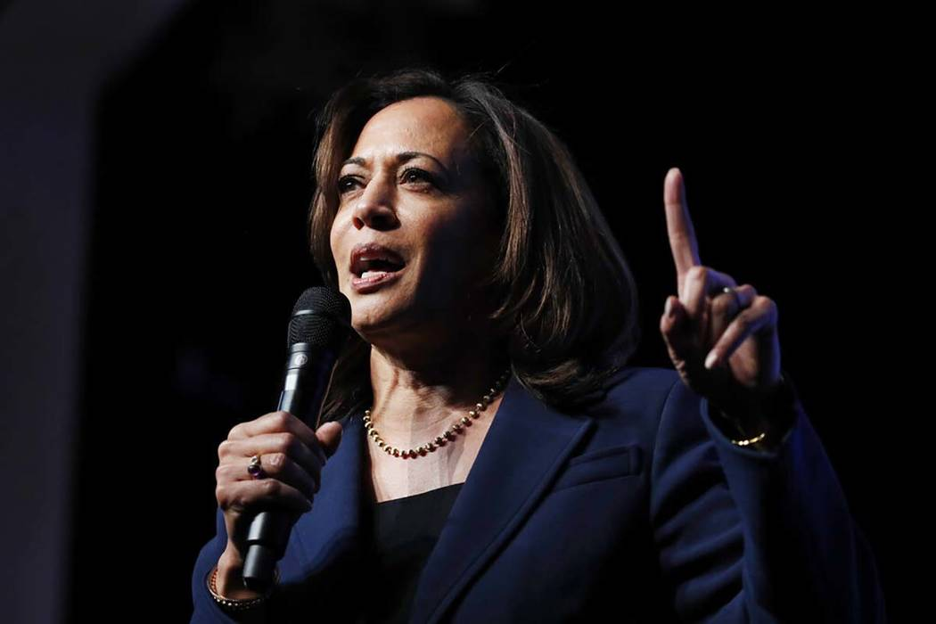 Democratic presidential candidate Sen. Kamala Harris, D-Calif., speaks during a fundraiser for ...