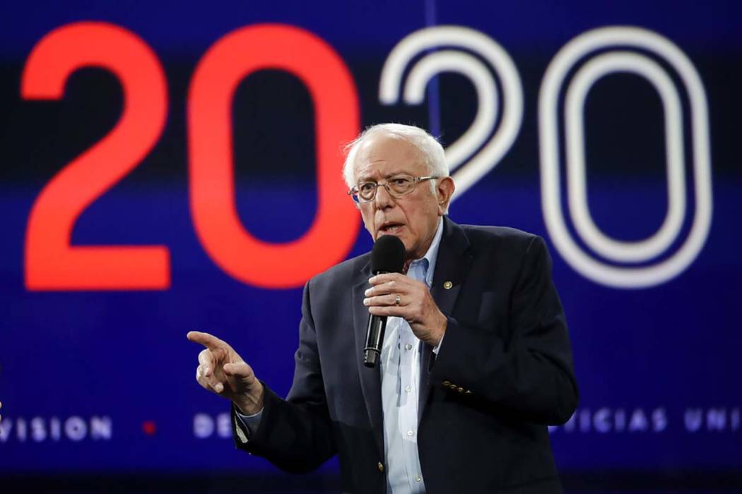 In this Nov. 16, 2019, photo Democratic presidential candidate Sen. Bernie Sanders, I-Vt., ...