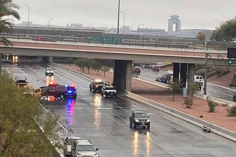 Vehicle crashes are causing traffic tie-ups at the airport connectors near McCarran Internation ...