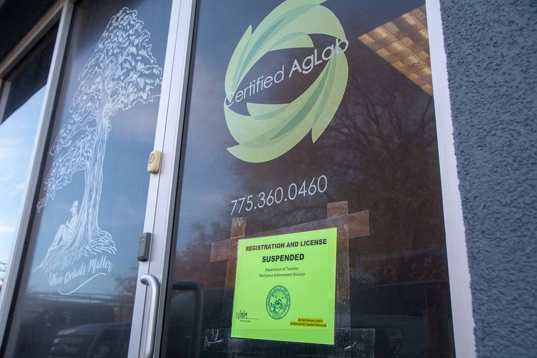 Certified Ag Labs in Sparks had its license suspended by Nevada officials Monday, Nov. 18, 2019 ...