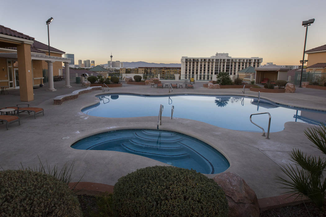 The rooftop pool looks out over the city at the Las Vegas Grand apartments on Monday, Nov. 18, ...