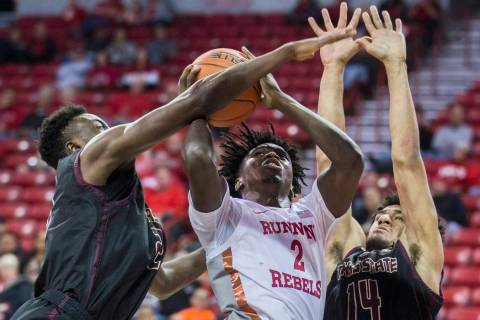 UNLV Rebels forward Donnie Tillman (2) drives to the rim past Texas State Bobcats forward Quent ...
