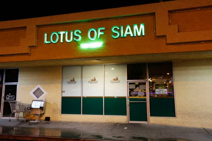 Thai restaurant Lotus of Siam after a portion of its ceiling collapsed in Las Vegas, Friday, Se ...
