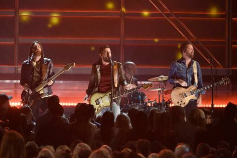 "Geoff Sprung, from left, Matthew Ramsey, and Brad Tursi, of Old Dominion, perform ""No Such ..."