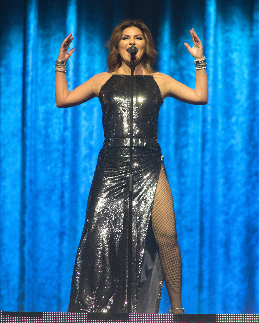 """Shania Twain performs in concert during her """"Now Tour"""" at The Wells Fargo Center on T ..."""