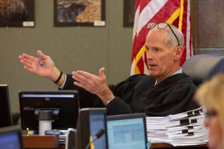 Judge Douglas Herndon presides in court during a hearing at the Regional Justice Center in Las ...