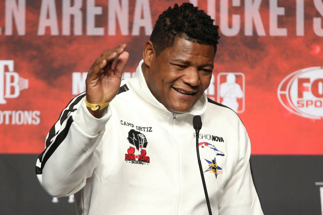 Luis Ortiz speaks during a press conference at the MGM Grand Garden Arena in Las Vegas, Wednesd ...