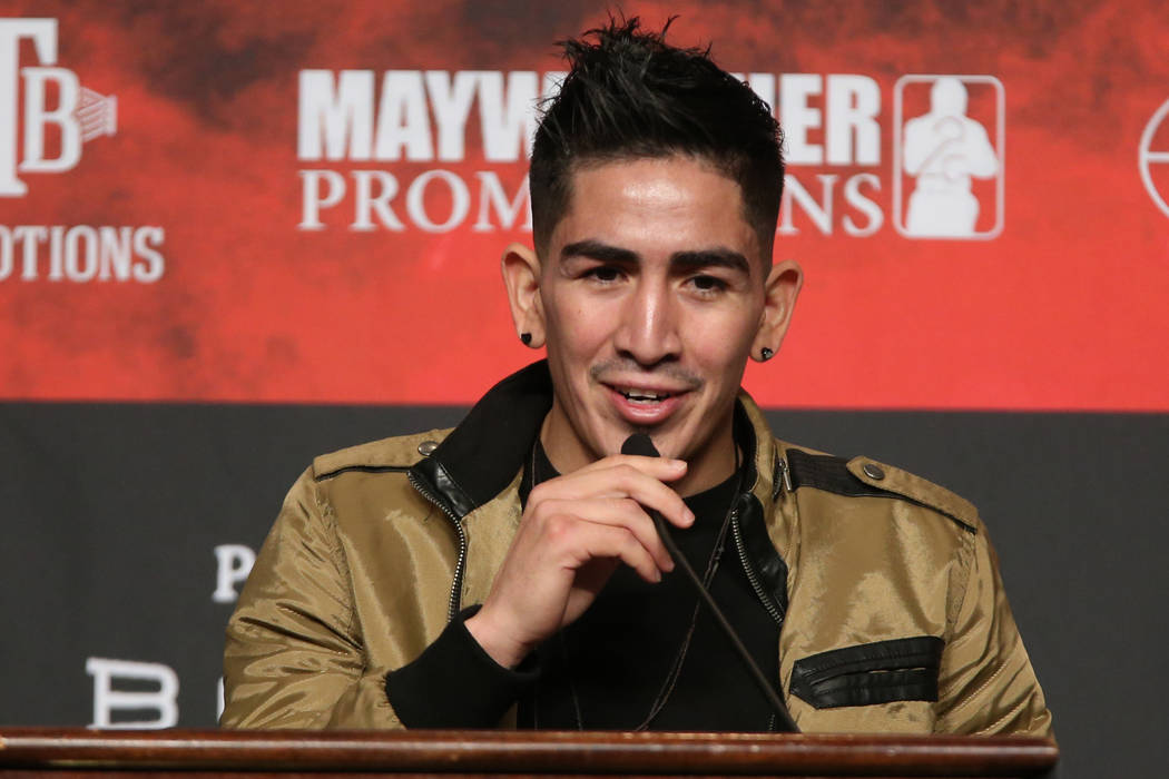 Leo Santa Cruz speaks during a press conference at the MGM Grand Garden Arena in Las Vegas, Wed ...