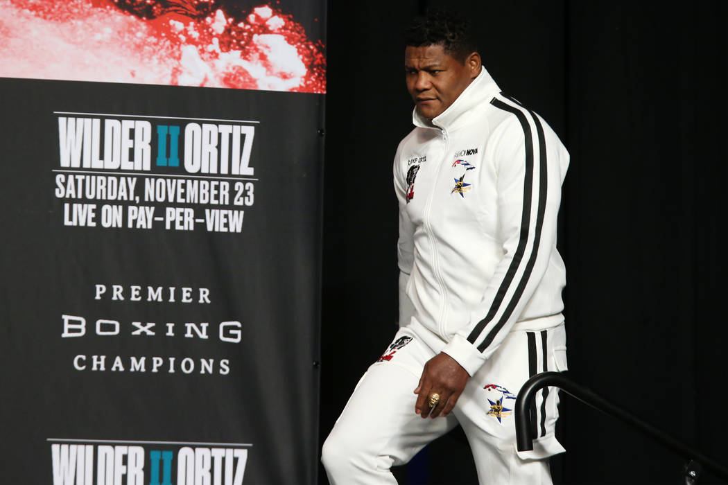 Luis Ortiz takes the stage for a press conference at the MGM Grand Garden Arena in Las Vegas, W ...