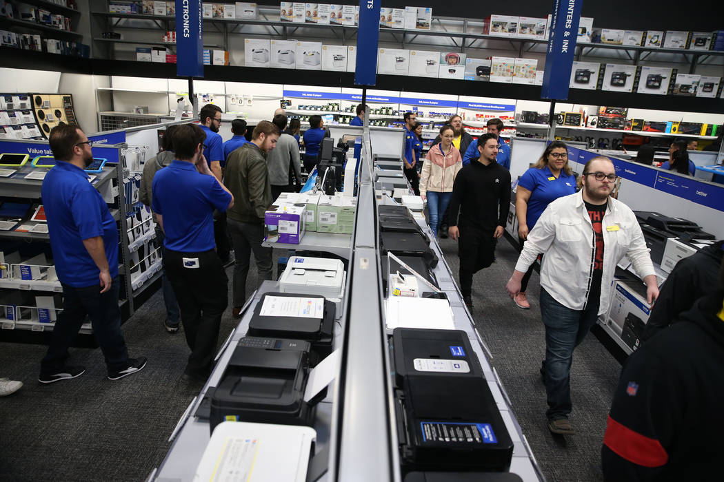 Employees prepare for Black Friday during a training event at Best Buy, 6455 N Decatur Blvd., i ...