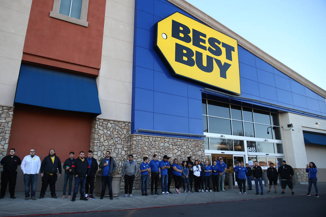 Best Buy employees prepare for Black Friday during an training event lead by General Manager An ...