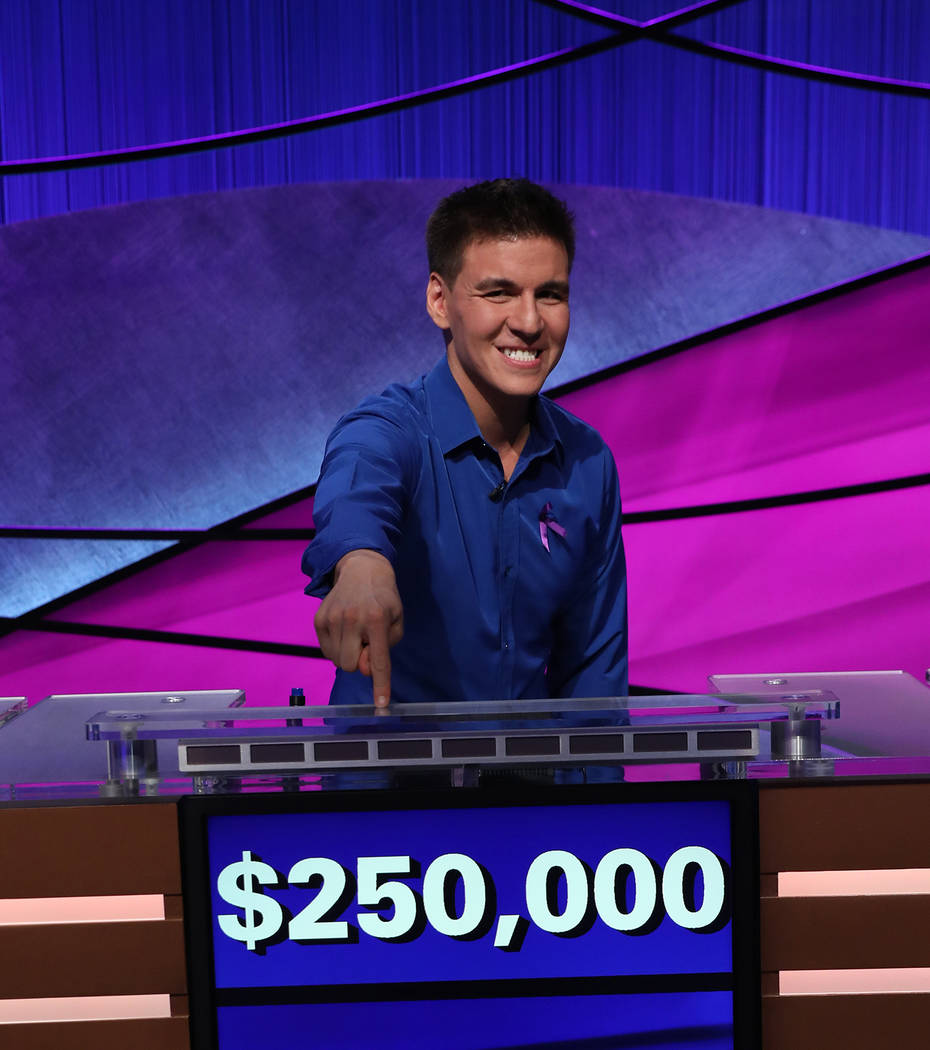 "Las Vegan James Holzhauer celebrates after winning the ""Jeopardy!"" Tournament of Champions. ..."