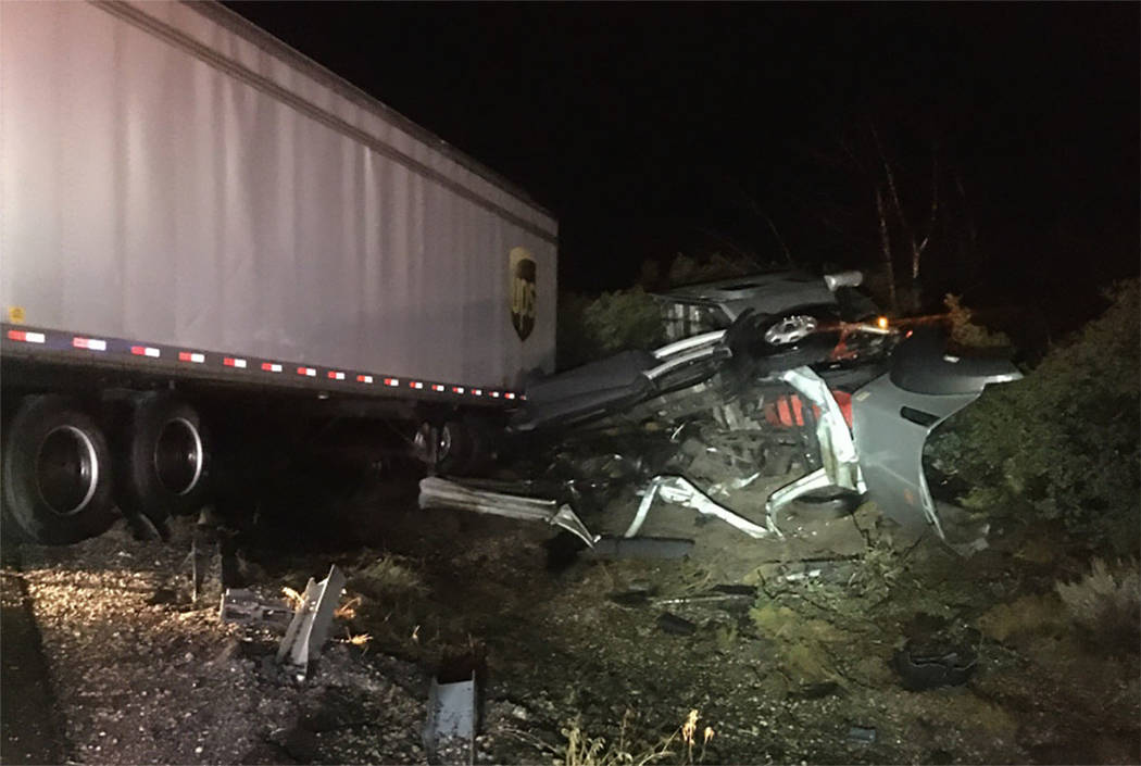 A semi rollover is seen in the southbound lanes of Interstate 15 between Cedar City and St. Geo ...